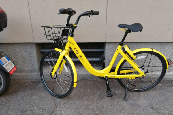 Una bici del servizio di bike sharing in free floating Ofo Bike